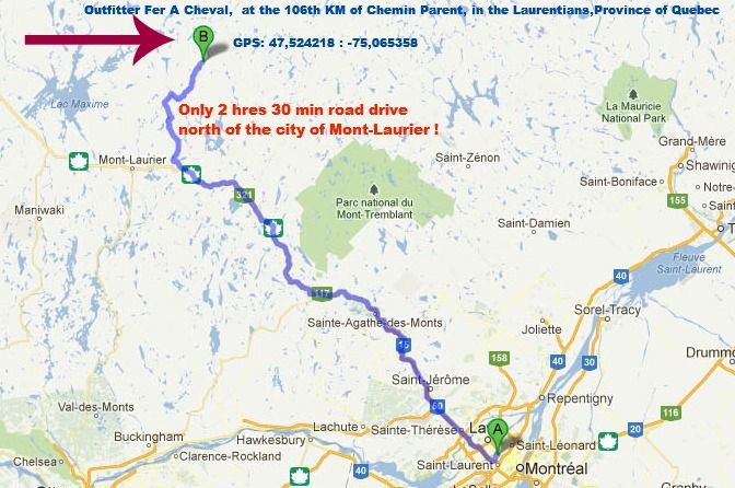 Google Map English Directions Outfitter Fer A Cheval Laurentians PQ