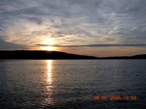 Coucher soleil lac duchastel