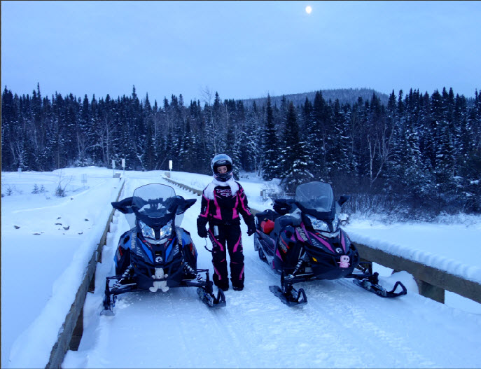 snowmobilers on new Bazin bridge