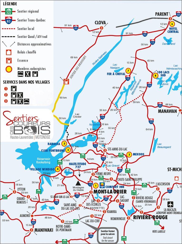 Carte sentiers motoneiges Sentier Coureurs des Bois
