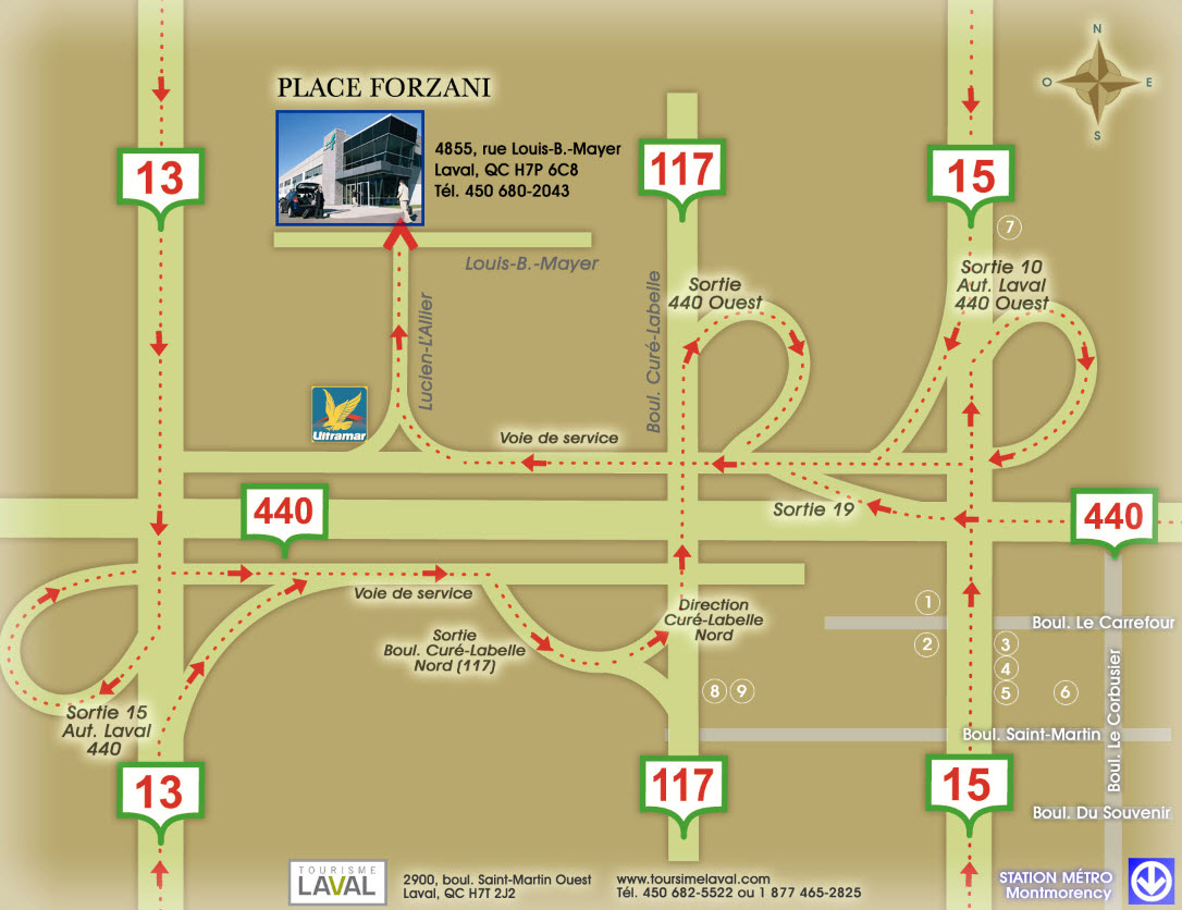 Directions Place Forzani in Laval